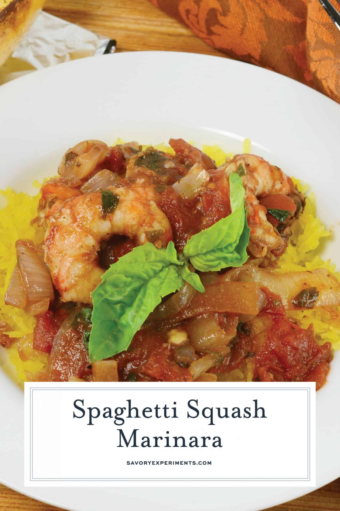 Baked Spaghetti Squash Marinara is a healthier alternative to pasta and tomato sauce! One of the best spaghetti squash recipes since it's packed full of flavor! #spaghettisquash #spaghettisquashrecipes www.savoryexperiments.com