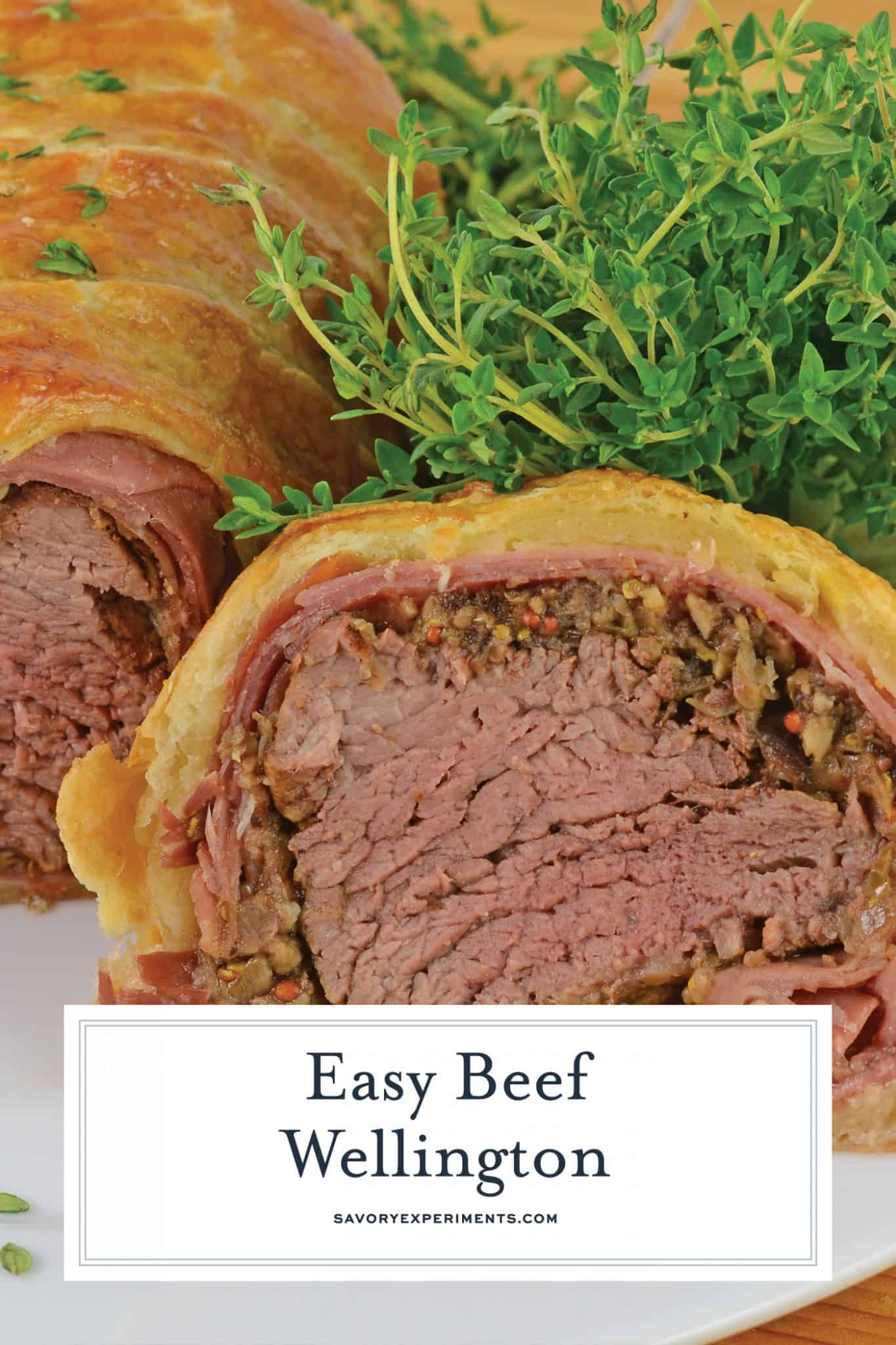 Beef Wellington is tender beef tenderloin, smothered in Dijon mustard, mushrooms, shallots and prosciutto, before being baked in a delicate puff pastry. #easybeefwellington #puffpastryrecipeideas #beeftenderloinrecipes www.savoryexperiments.com