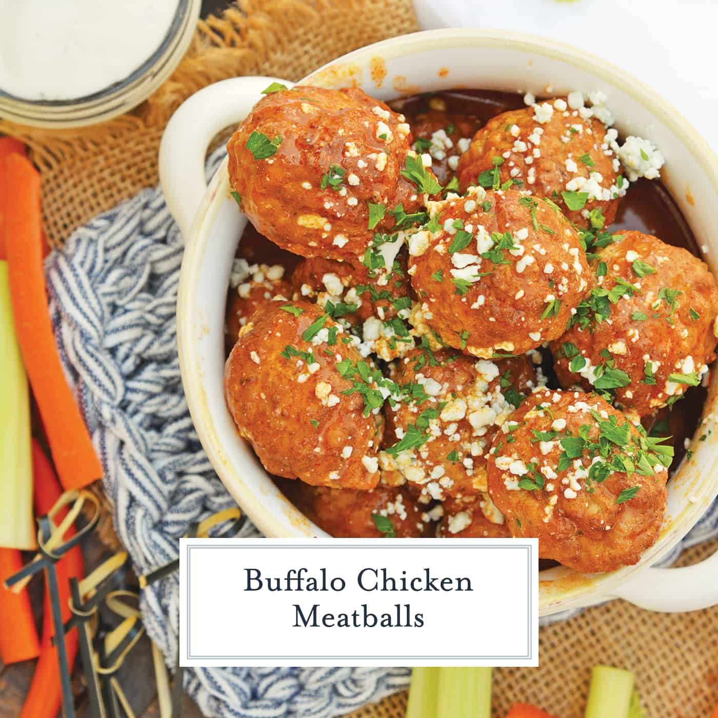 Buffalo Chicken Meatballs are a quick and easy appetizer that will spice up any party! Simmered in spicy wing sauce and blue cheese, these will be a winner! #buffalochicken #partymeatballs #buffalochickenmeatballs www.savoryexperiments.com