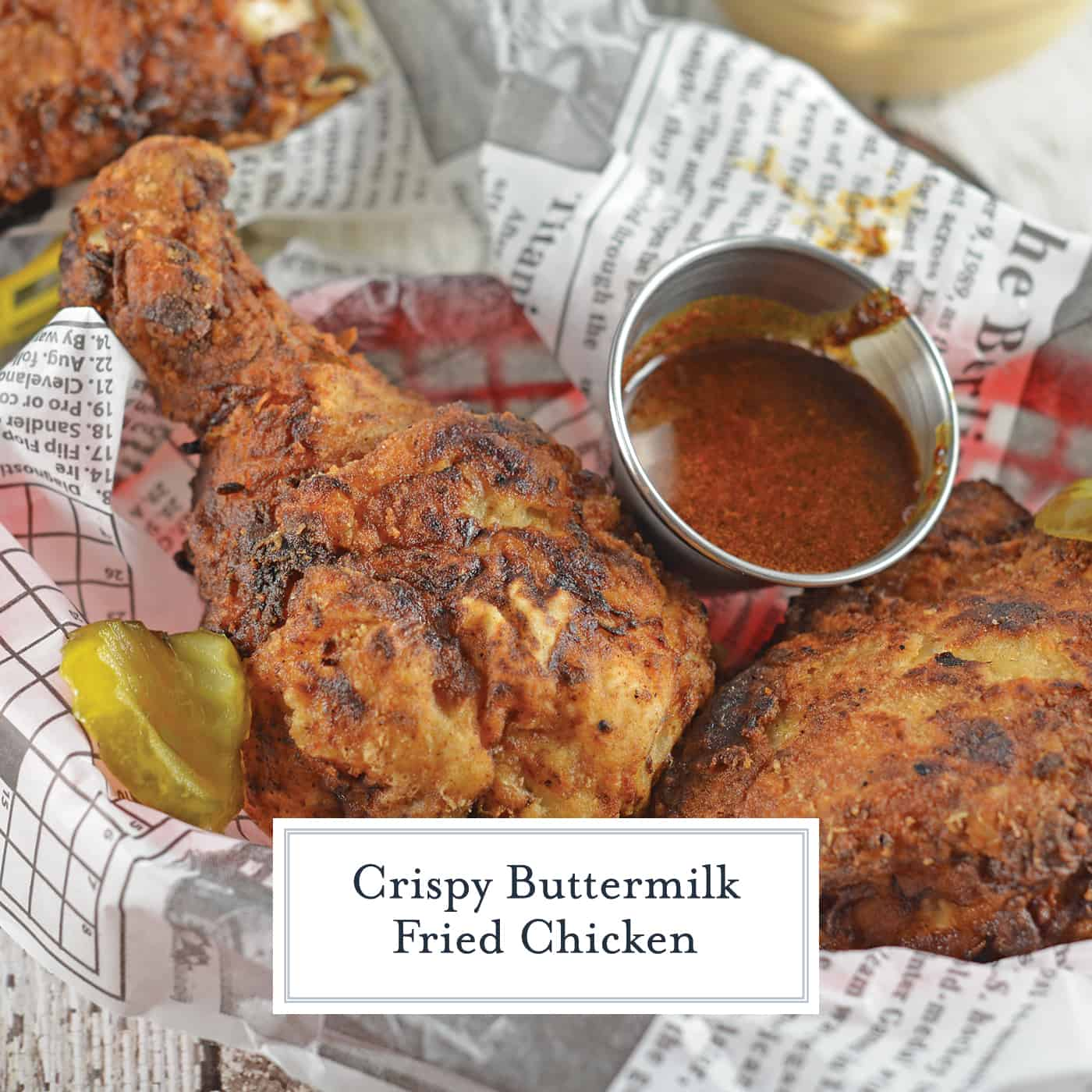 The best Buttermilk Fried Chicken recipe! Brined chicken with fresh herbs, buttermilk and seasonings makes for a crispy, flavorful southern fried chicken! #buttermilkfriedchicken #howtomakefriedchicken www.savoryexperiments.com