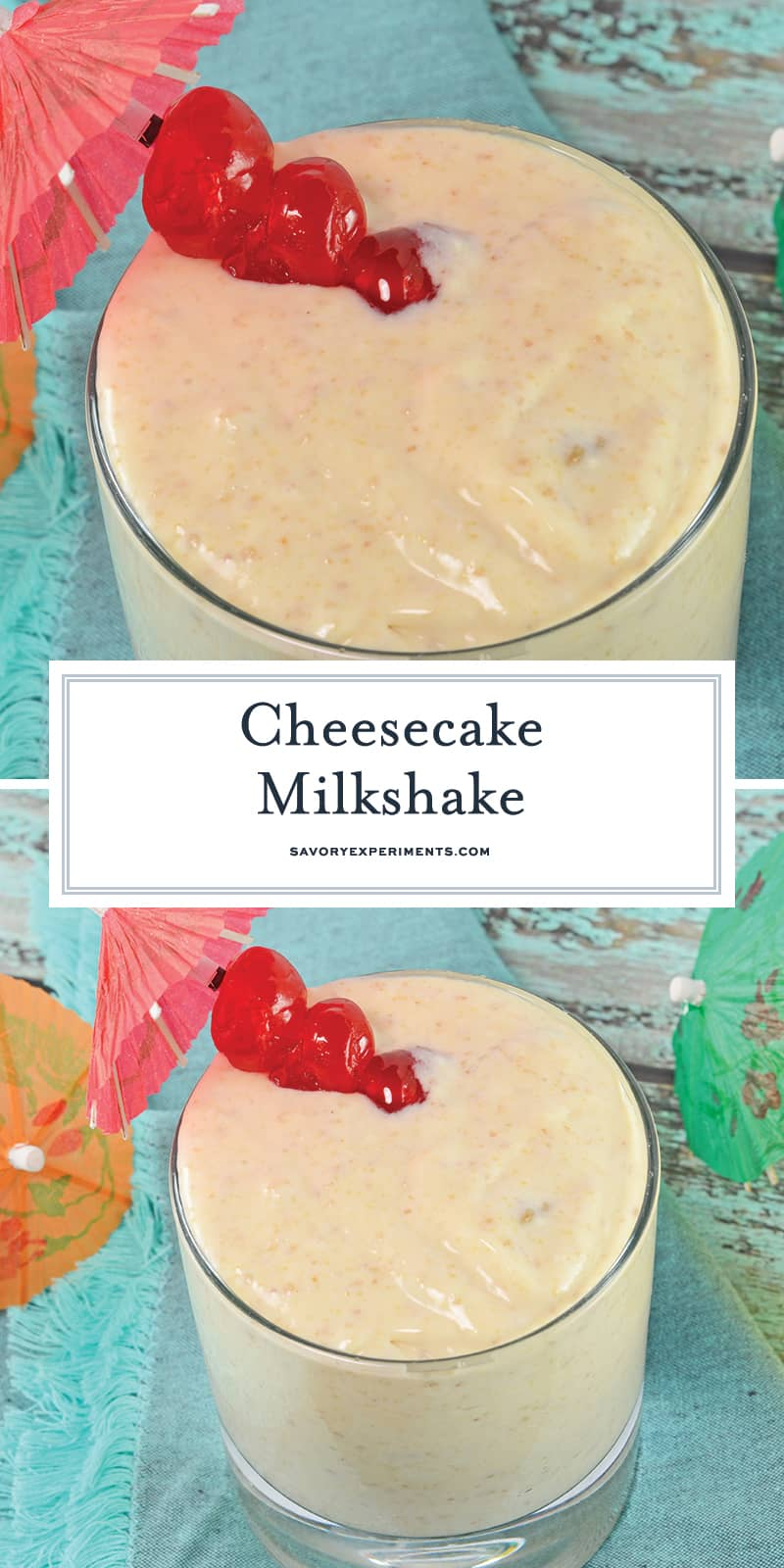 A Cheesecake Milkshake is a frozen mixed drink made with real cheesecake and vanilla vodka! Use different flavored cheesecakes for even more fun flavor combos! #howtomakeamilkshake #milkshakerecipe #homemademilkshake www.savoryexperiments.com