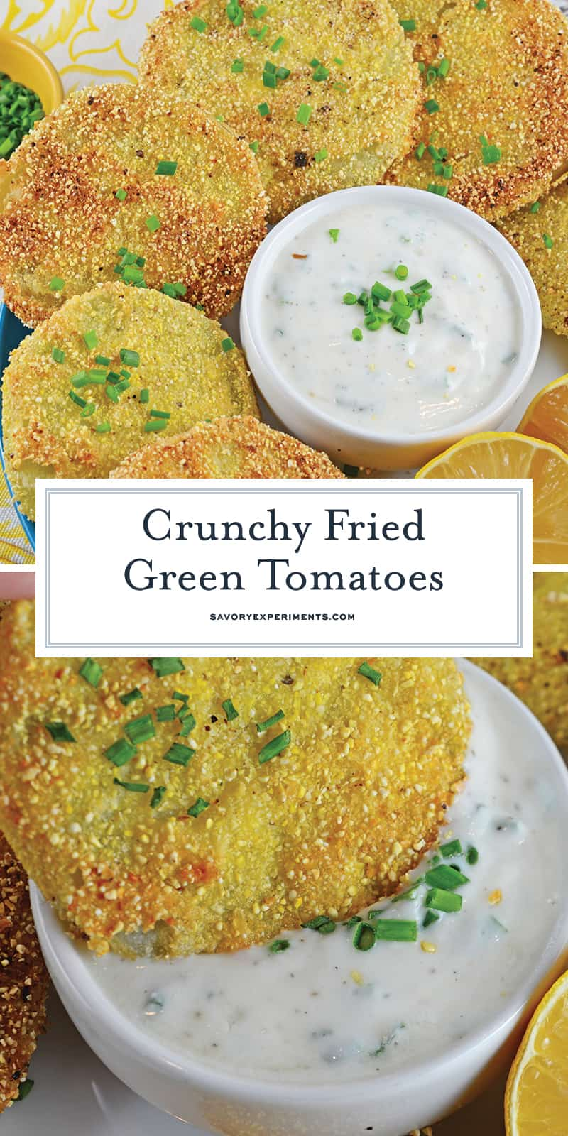 Fried Green Tomatoes are a Southern tradition! This Fried Green Tomatoes Recipe is made up of juicy tomatoes coated with cornmeal, and fried to a golden brown! #friedgreentomatoesrecipe #howtomakefriedgreentomatoes www.savoryexperiments.com