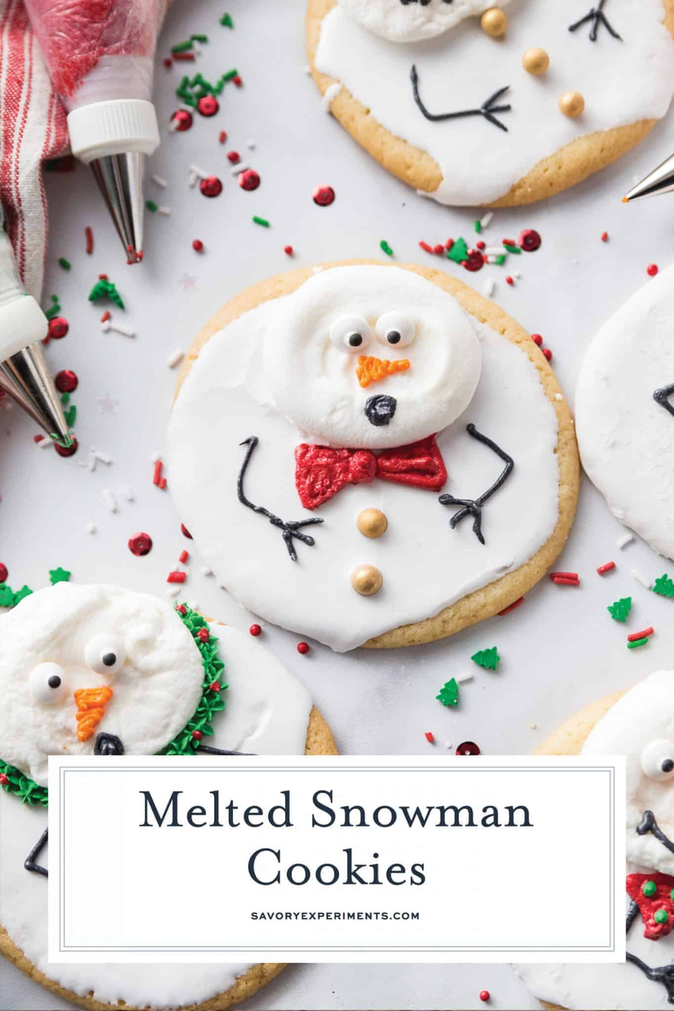 Super easy and fun to decorate, Melted Snowman Cookies are great for a children's project on a cold winter day. The cutest Christmas cookies ever!  #meltedsnowmancookies #meltingsnowmen #easychristmascookies www.savoryexperiments.com