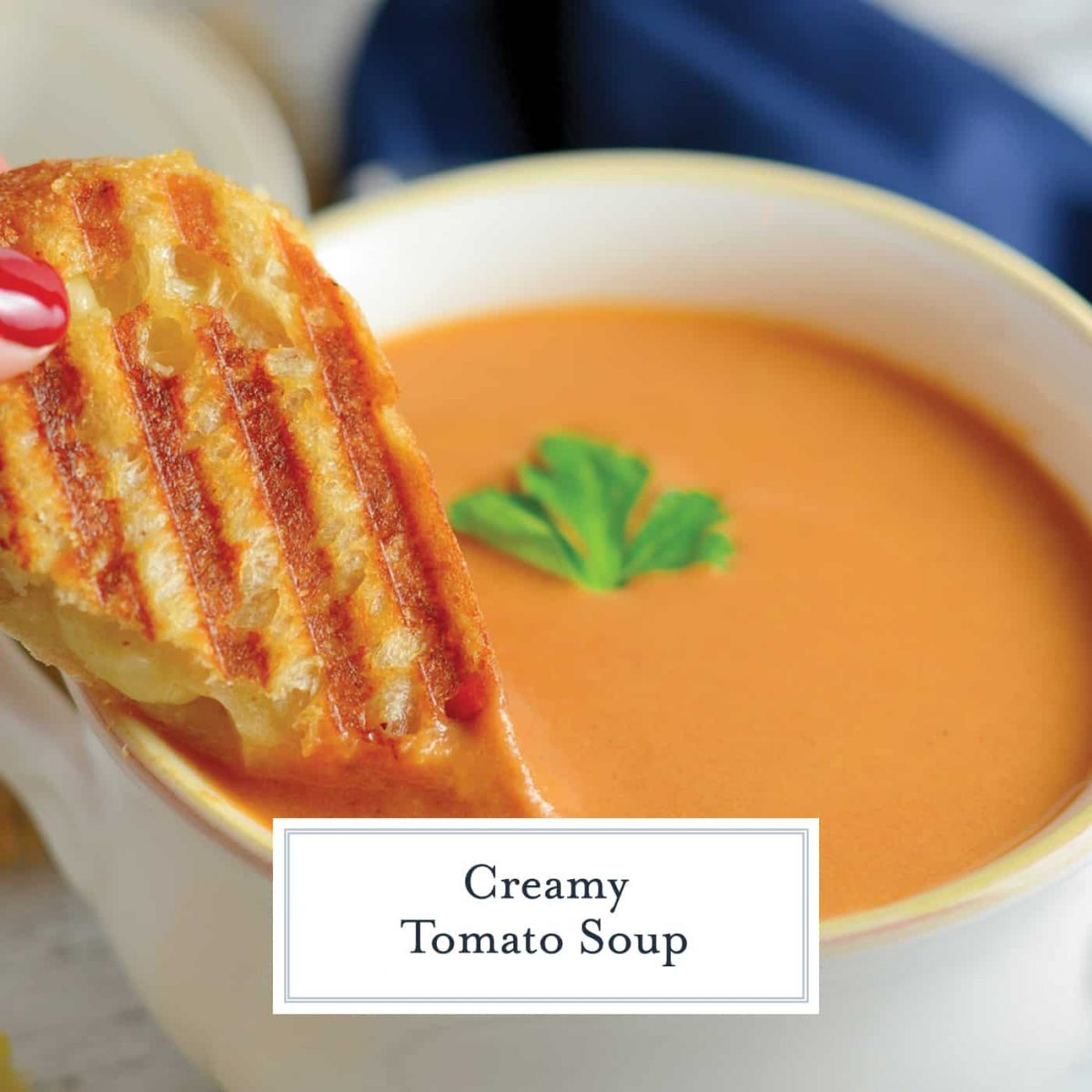 Creamy Homemade Tomato Soup is rich and creamy, full of flavor from roasted onions, tomatoes and garlic! Make-ahead and freezer friendly! #tomatosouprecipe #homemadetomatosoup www.savoryexperiments.com