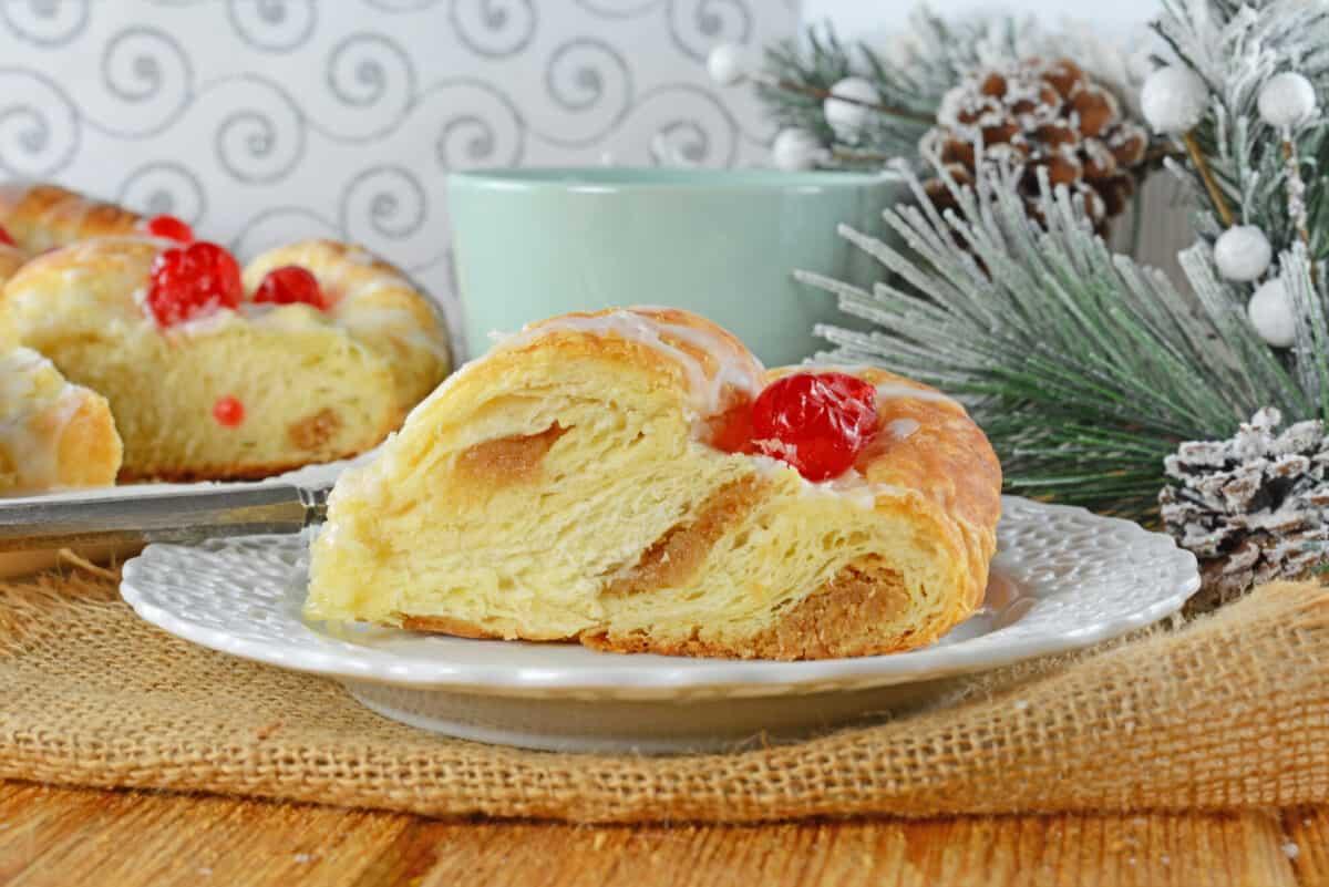side angle of almond stuffed danish bread
