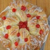 dutch pastry wreath with cherries