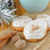 Eggnog Cookies have eggnog mixed into the cookie and the frosting! These cookies come straight from the North Pole and are the best way to use up just a few tablespoons of eggnog.