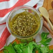 Pesto Sauce made with pine nuts, fresh basil and parsley is perfect as a pasta sauce, marinade, sandwich spread or even dipping sauce. Pesto Sauce also freezes well and can be canned.