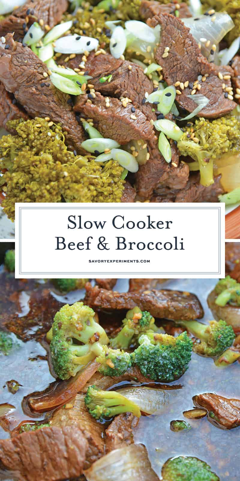 Do you like carry-out Chinese Beef and Broccoli? Then you'll love my Slow Cooker Beef and Broccoli! This Crock pot Beef and Broccoli is better than take-out! #slowcookerbeefandbroccoli #crockpotbeefandbroccoli #chinesebeefandbroccoli www.savoryexperiments.com