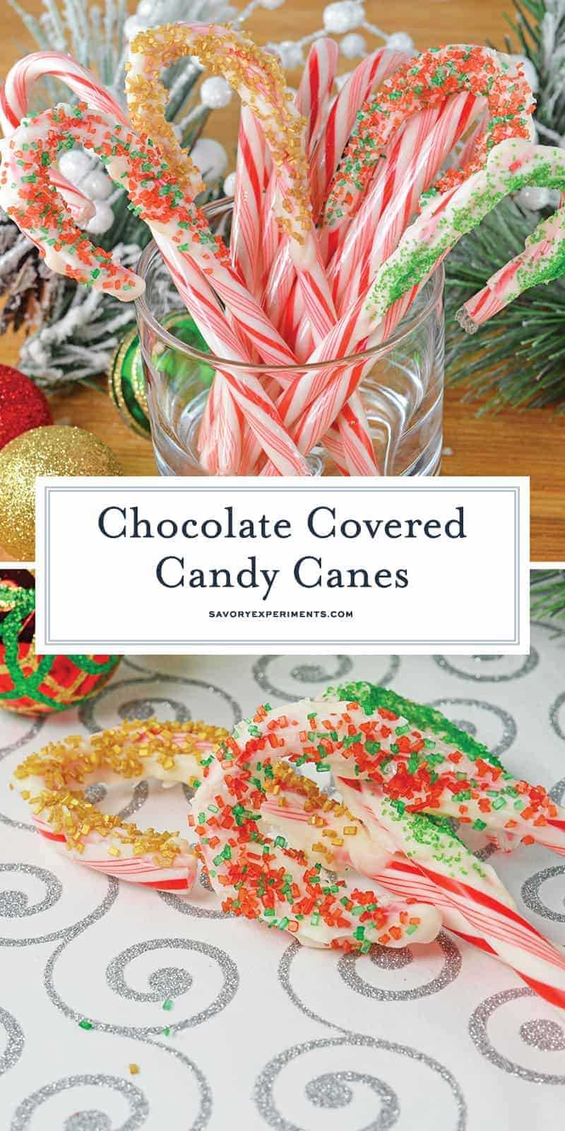 Chocolate Covered Candy Canes are the perfect fun and cheerful holiday treats! Ready in 15 minutes with no cooking! Add some festive sprinkles to jazz them up! #recipesthatusecandycanes #easychristmascookies www.savoryexperiments.com