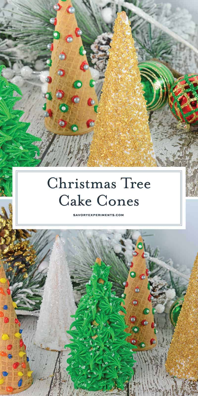 Christmas Tree Cake Cones are filled with cake and frosting and then festively decorated and a fun holiday activity for kids. #christmasactivitiesforkids #cakecones www.savoryexperiments.com