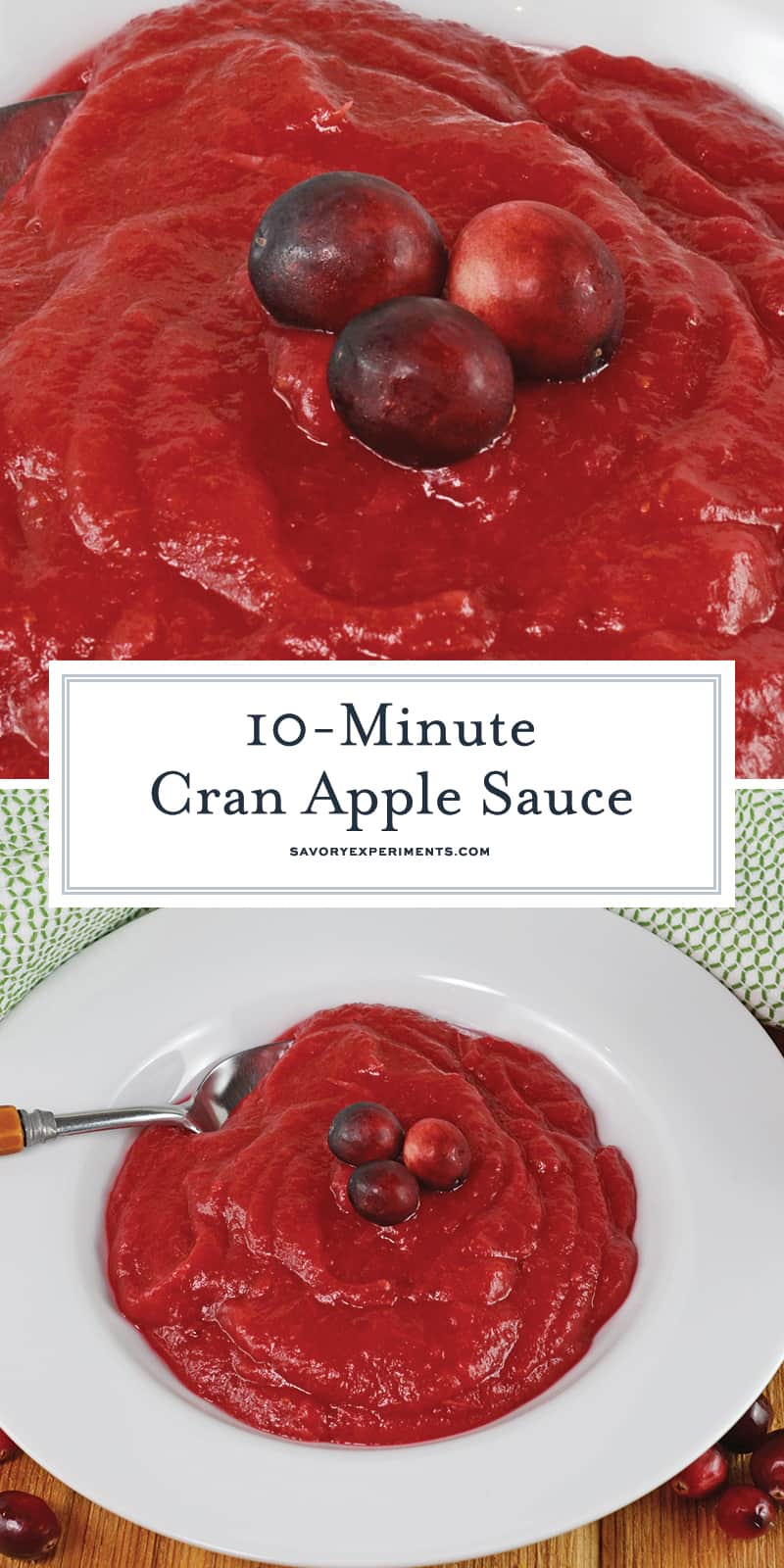 Quick Cran Apple Sauce really lives up to its name by only taking 10 minutes to make! An easy applesauce recipe and yummy treat to enjoy with the whole family! #homemadeapplesauce #waystousecranberries www.savoryexperiments.com