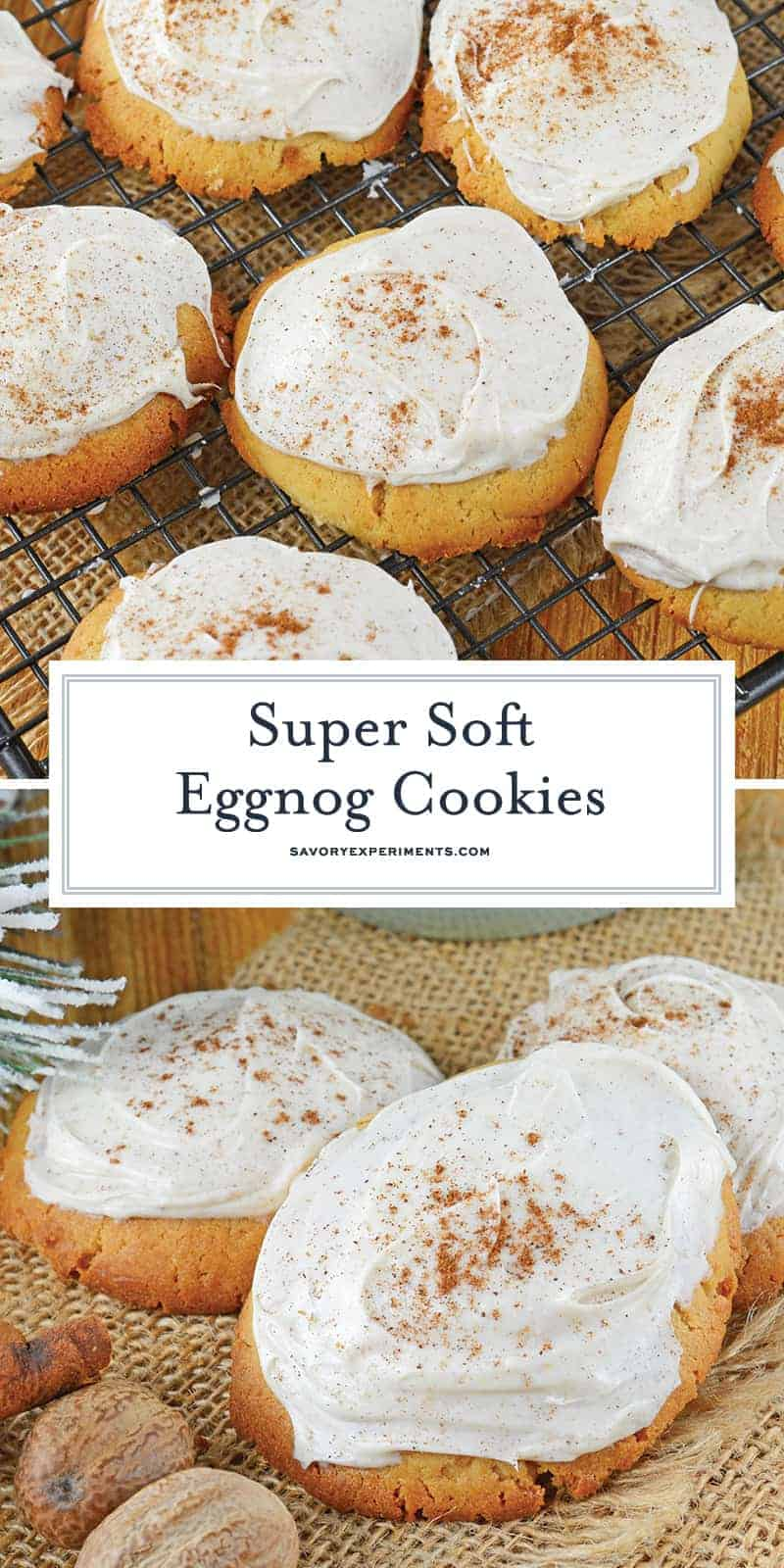 Eggnog Cookies are luscious and full of flavor! These cookies come straight from the North Pole and are the best way to use leftover eggnog! #whatiseggnog #eggnogcookies www.savoryexperiments.com
