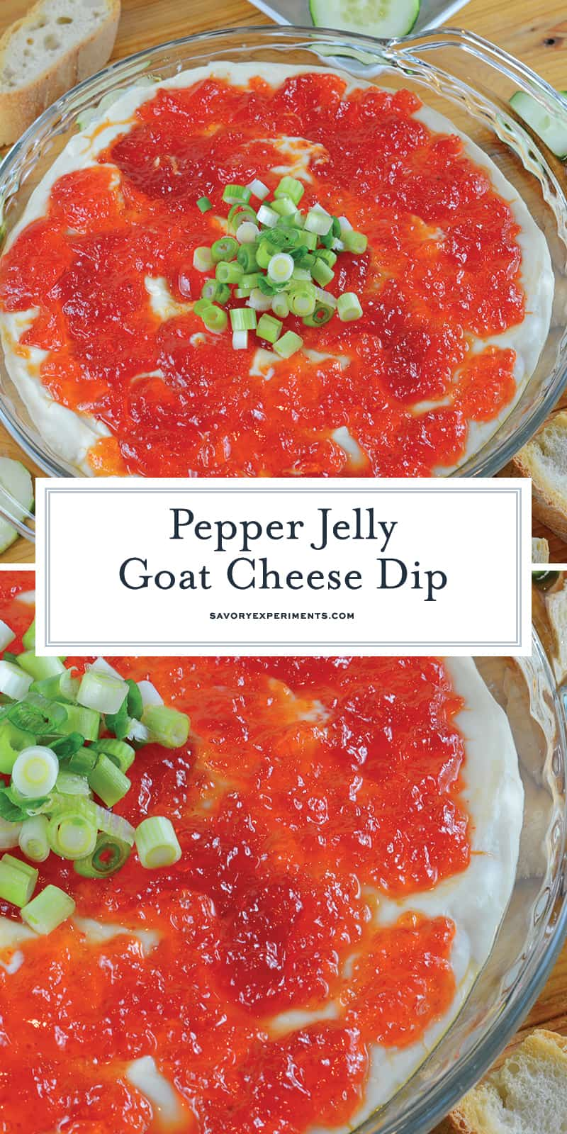 Baked Goat Cheese Dip is one of the most popular dips I make! This goat cheese recipe is creamy and full of sweet heat and the perfect potluck dish or party appetizer! #goatcheeserecipes #goatcheesedip www.savoryexperiments.com
