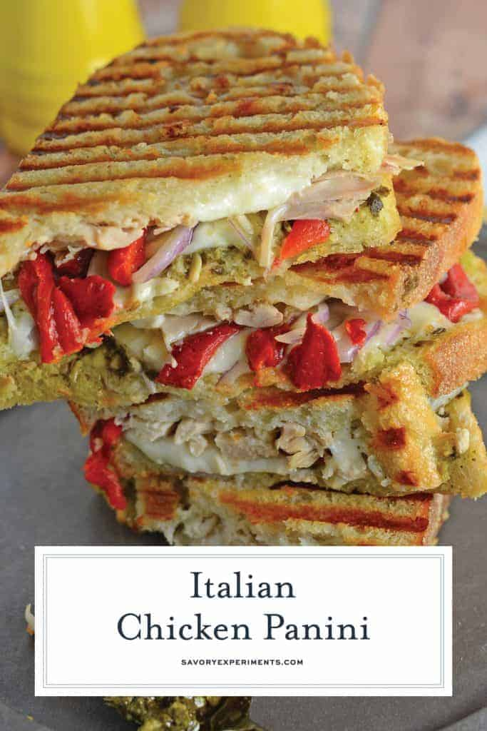 Italian Chicken Panini Recipe is made up of crusty bread filled with gooey mozzarella cheese, roasted red pepper, shredded chicken and lots of garlicky pesto. #chickenpanini #paninirecipe #paninisandwich www.savoryexperiments.com