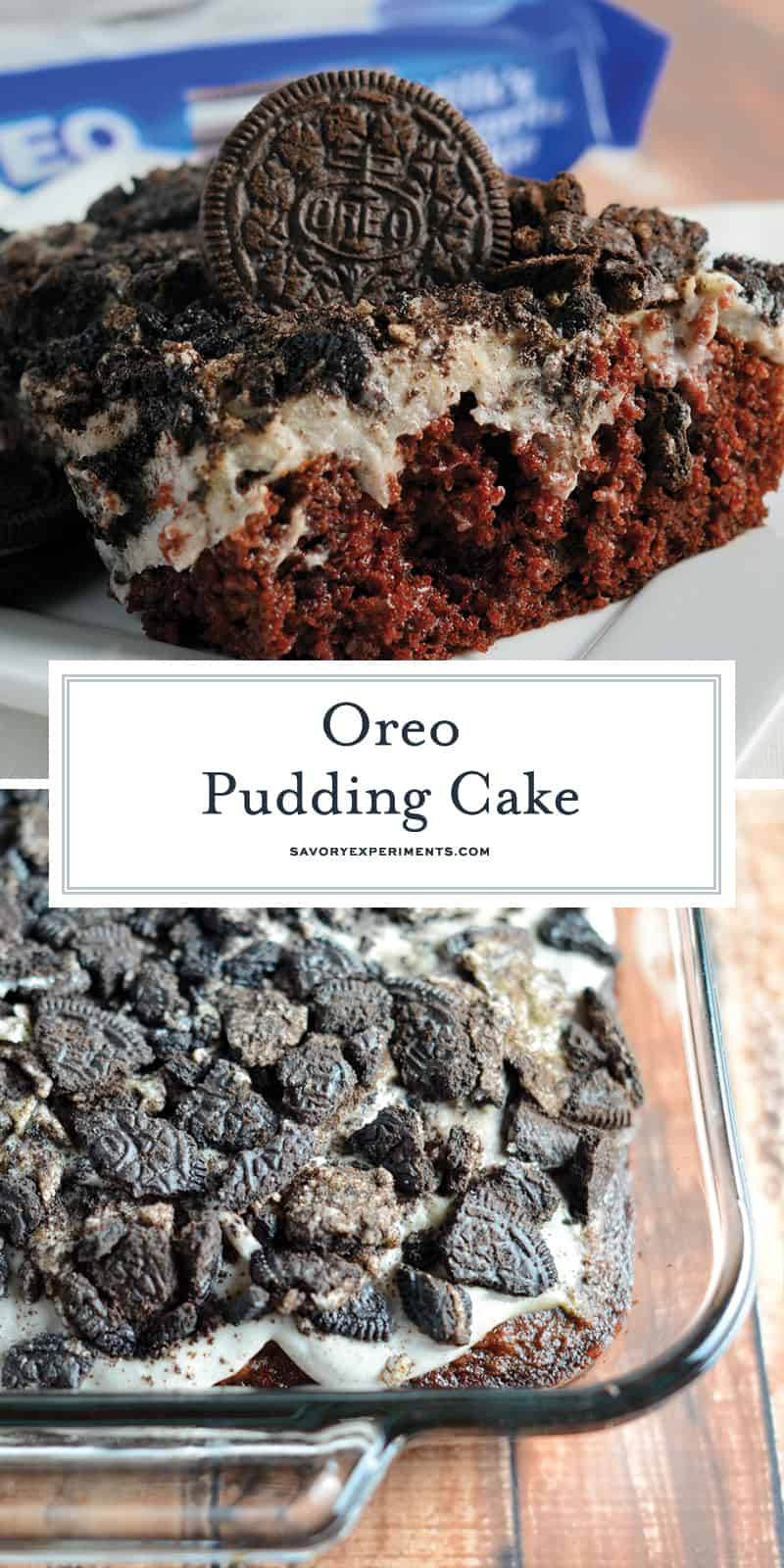 Oreo Pudding Cake is a poke recipe perfect for an easy party dessert. If you like Oreo balls, you'll love this easy cake recipe! #oreocookierecipes #oreopuddingcake #pokecakerecipes www.savoryexperiments.com