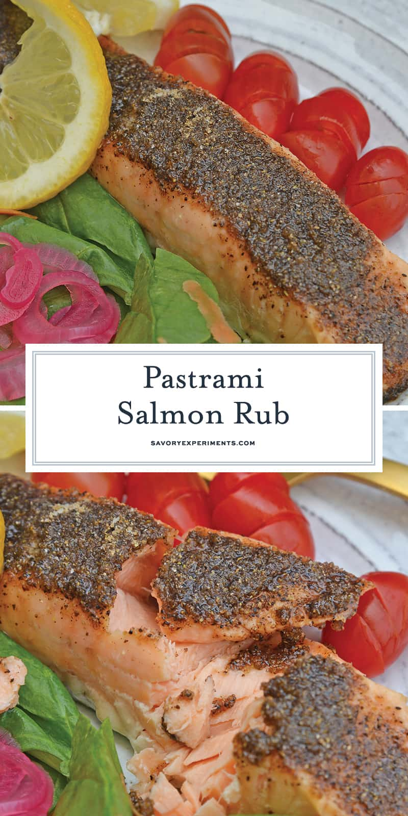 Pastrami Salmon Rub is a blend of the perfect salmon seasoning! Not only for baked salmon, this rub also work for grilled salmon and salmon kabobs! #salmonrub #bakedsalmon #pastramirub www.savoryexperiments.com