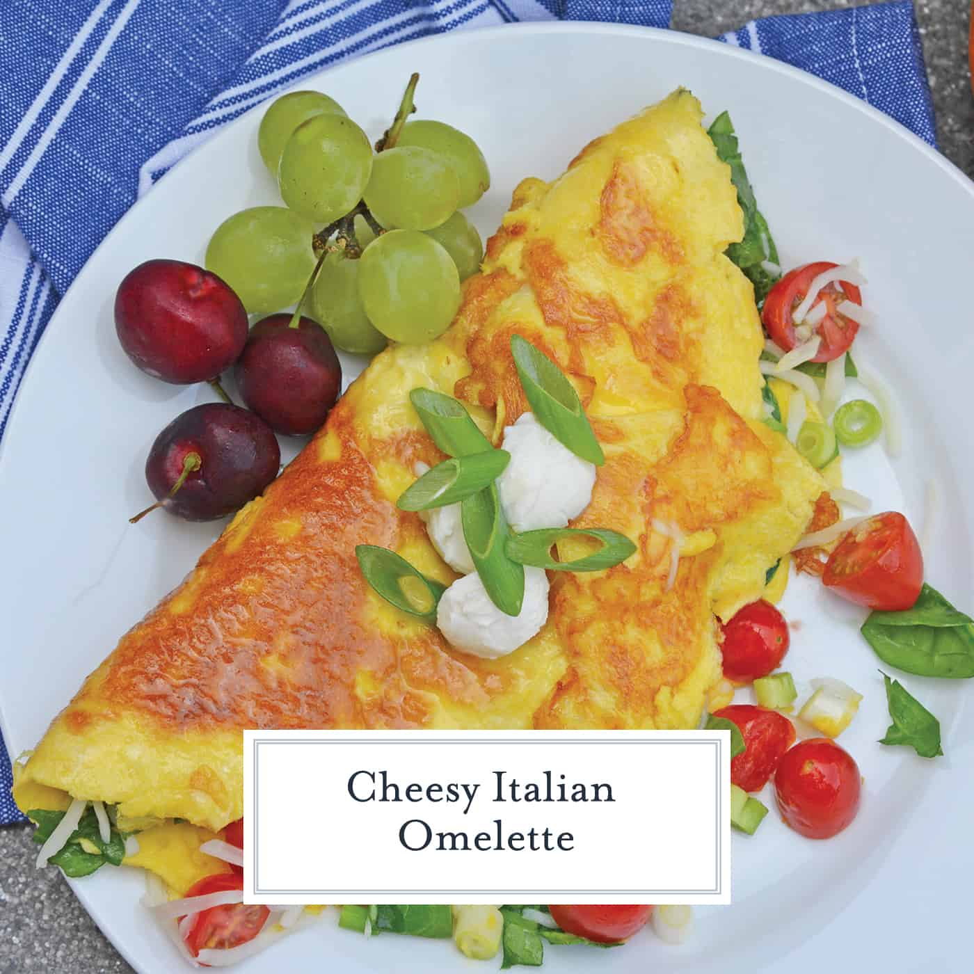 A Shrimp Omelette is a savory omelette with shrimp, scallions, spinach, tomatoes and fresh mozzarella cheese. A perfect recipe for those of us who love brunch! #shrimpomelette #omeletterecipes www.savoryexperiments.com