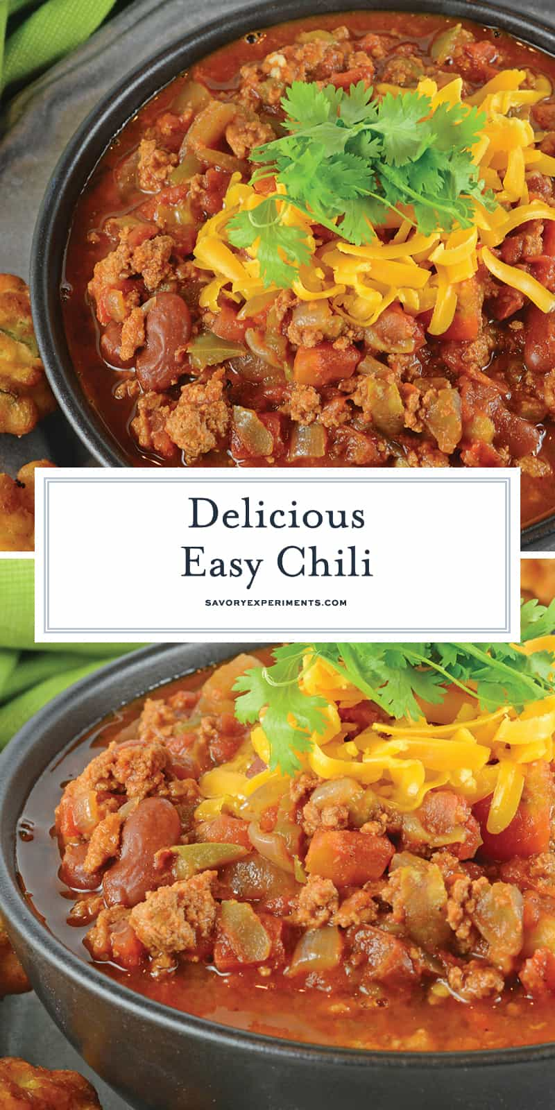 Easy Chili is a spicy mix full of ground beef, Italian sausage and vegetables, but the secret ingredient makes it different from every other chili out there! #chilirecipe #bestchilirecipe www.savoryexperiments.com