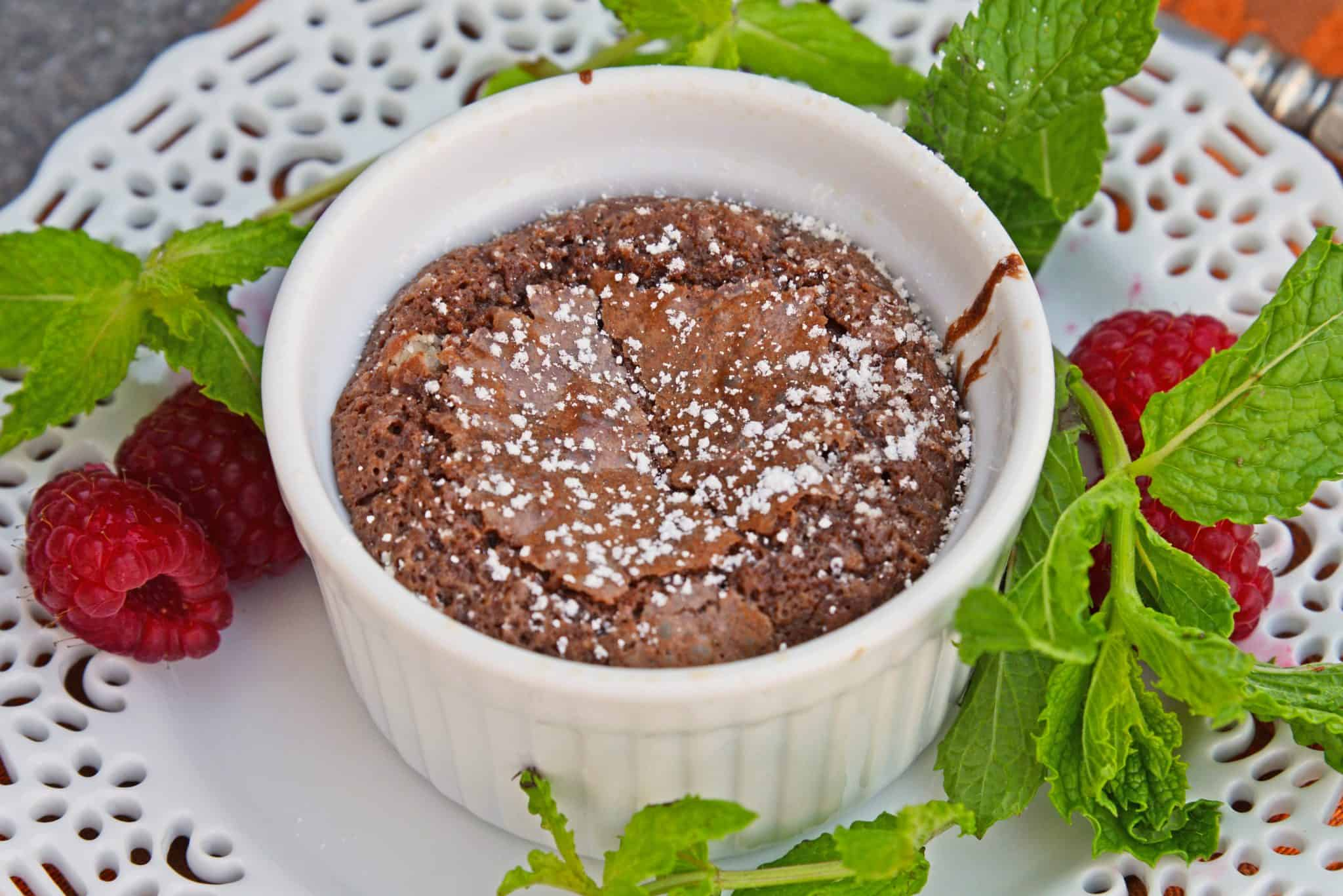 Red Wine Chocolate Lava Cake is so easy to make at home! This molten lava cake comes out of the oven piping hot in just about 30 minutes. #lavacakerecipe #moltenlavacake #chocolatecake www.savoryexperiments.com