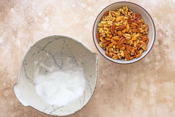 bowl of nuts and egg whites