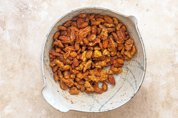 nuts folded with egg whites and spices