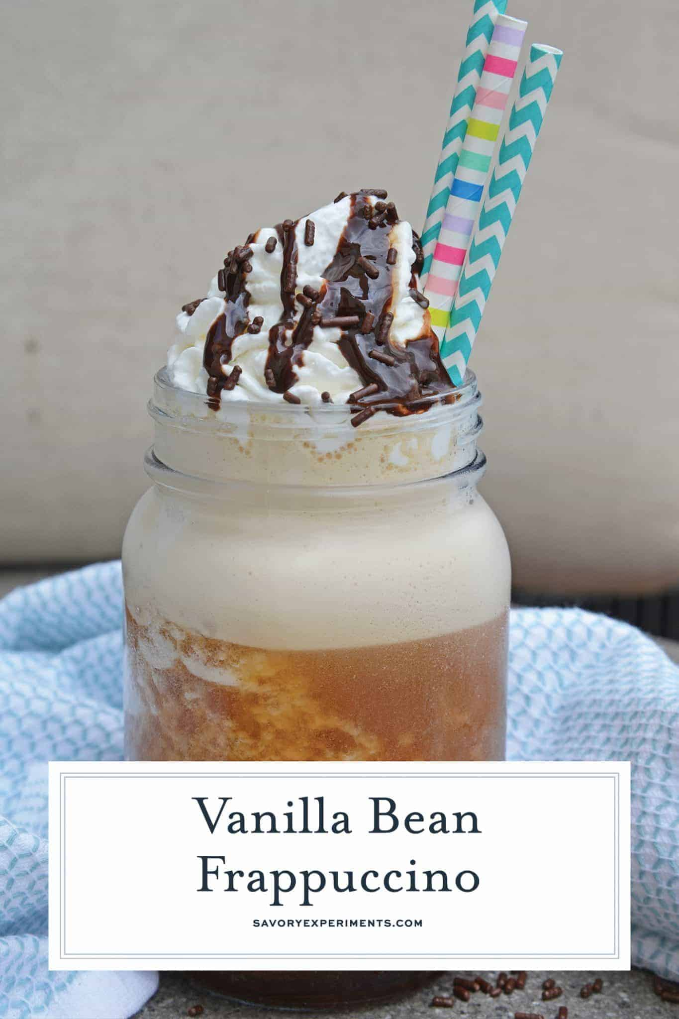 This Vanilla Bean Frappuccino Cocktail is a copycat version of the Starbucks Vanilla Bean Frappuccino that can be made at home to save you money! #vanillabeanfrappuccino #coffeecocktails #vanillacocktails www.savoryexperiments.com