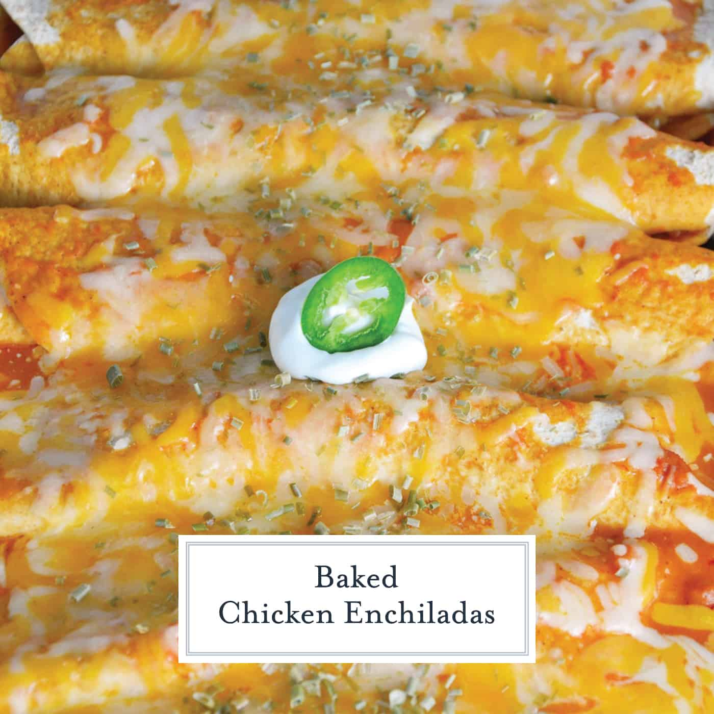 Close up of smothered chicken enchiladas