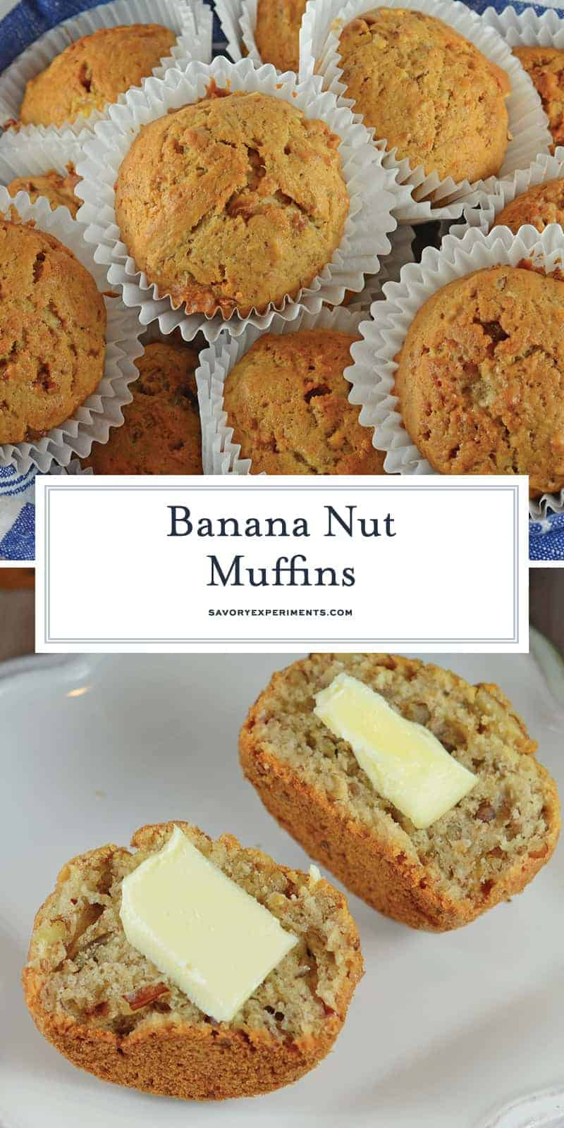 Banana Nut Muffins are a classic recipe, and the perfect use for overripe bananas. Whip them up for breakfast with just a few simple ingredients you already have in your pantry! #banananutmuffins #bananarecipes www.savoryexperiments.com