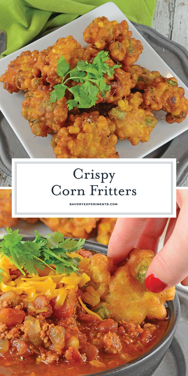 Easy Corn Fritters are lightly fried with scallions, cumin & white pepper. They're deliciously crispy! No matter how you serve these they are sure to be a hit! #easycornfritters #howtomakecornfritters #cornfrittersrecipe www.savoryexperiments.com
