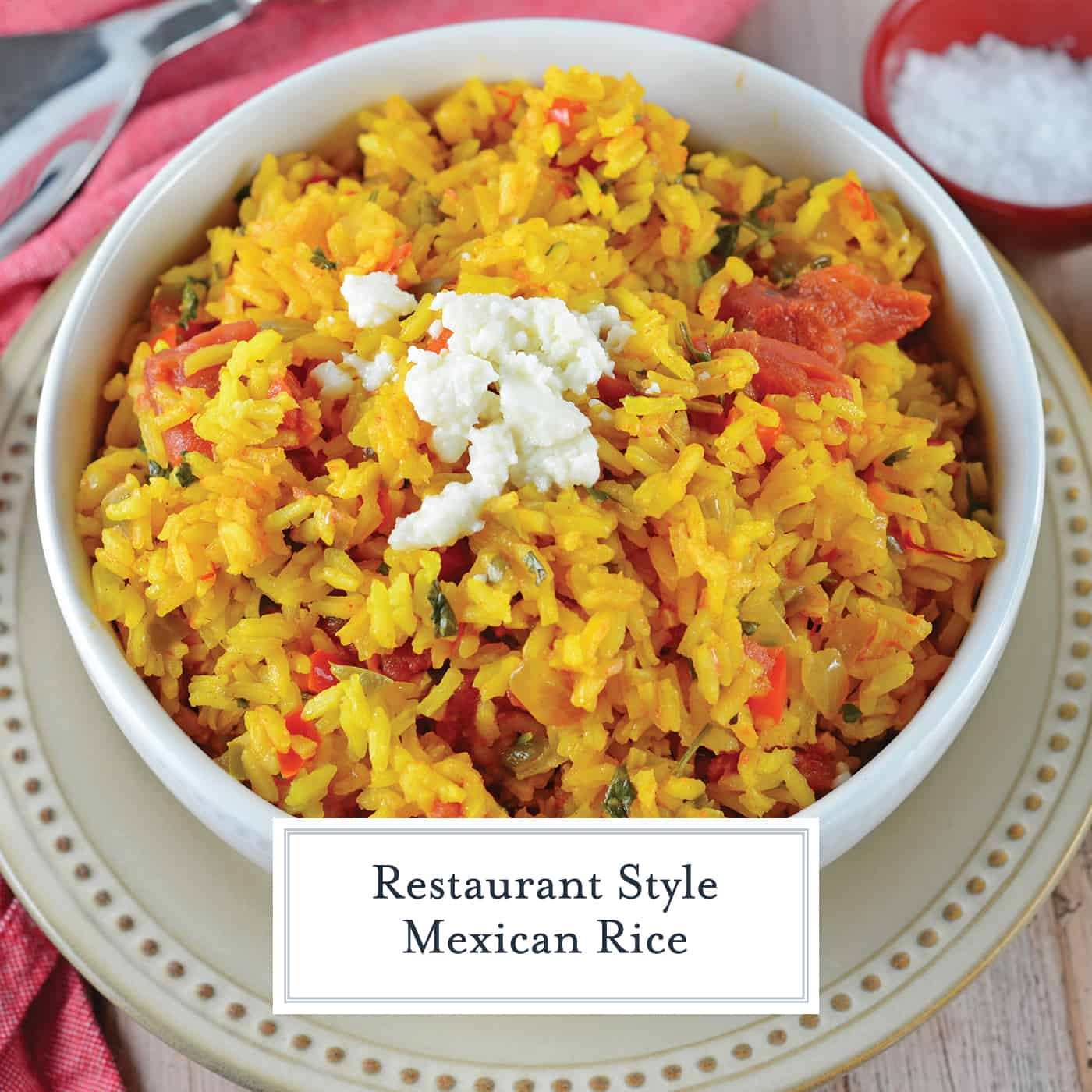 Restaurant Style Mexican Rice is a zesty side dish recipe packed full of vegetables and flavor using a delicious combination of red and green peppers, garlic, onions, tomatoes, chiles, and cilantro! #mexicanricerecipe #homemademexicanrice #yellowrice www.savoryexperiments.com