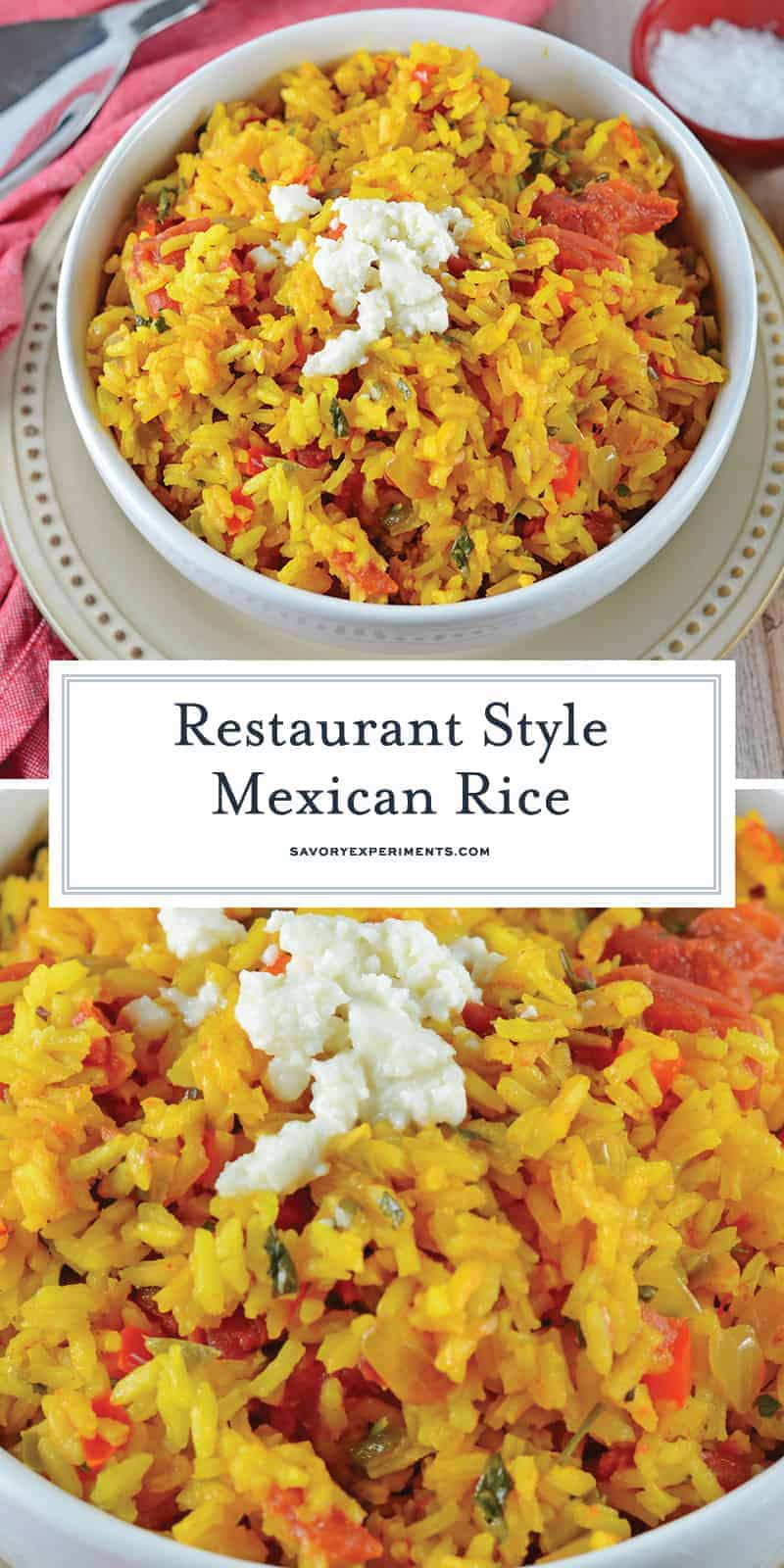 Restaurant Style Mexican Rice is a zesty red rice recipe packed full of vegetables and flavor using a delicious combination of red and green peppers, garlic, onions, tomatoes, chiles, and cilantro! #mexicanricerecipe #homemademexicanrice #yellowrice www.savoryexperiments.com