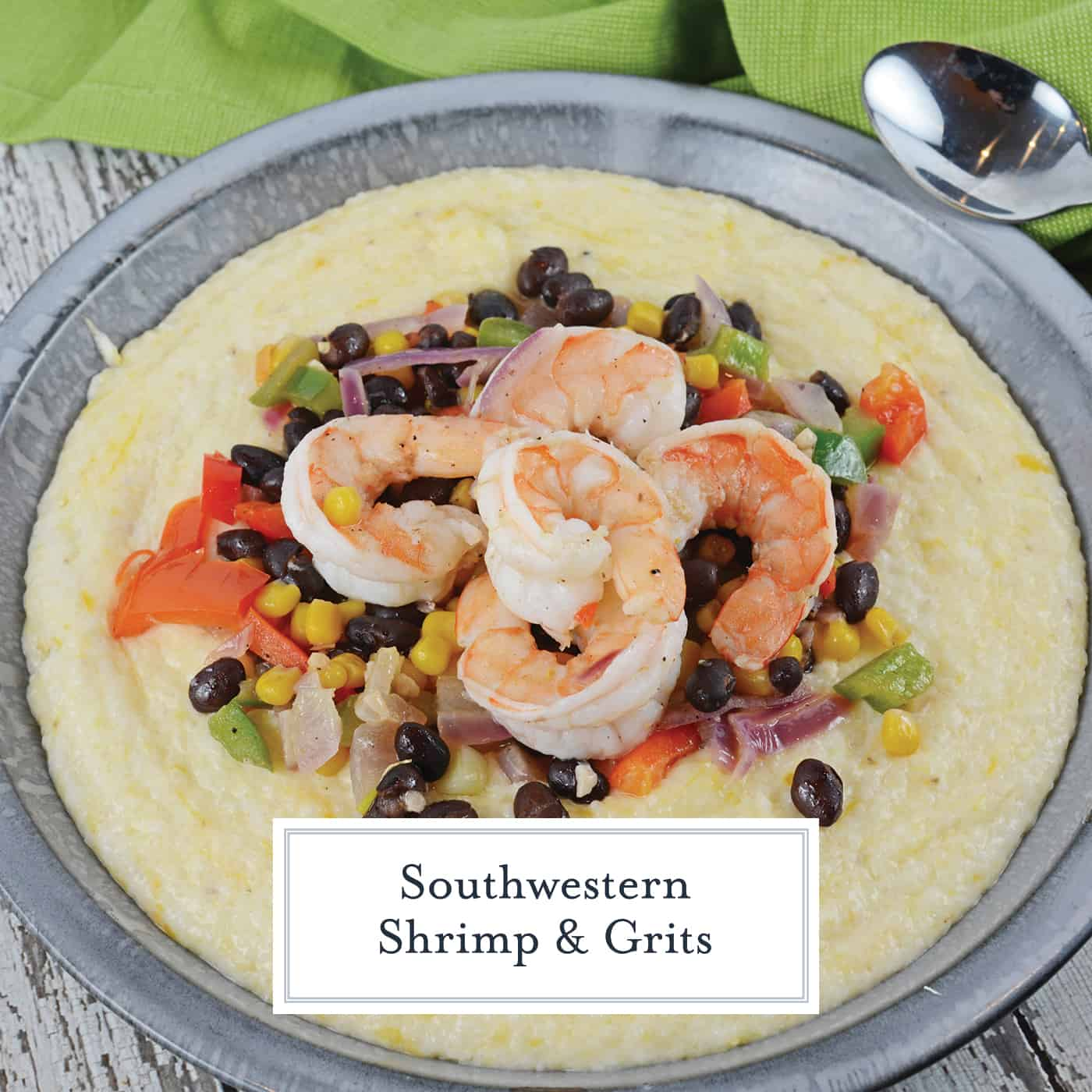 This Southwestern Shrimp and Grits recipe is a new take on an old classic! It combines Texas Caviar with Creamy Cheddar Grits and shrimp! #shrimpandgritsrecipe #cheesyshrimpandgrits www.savoryexperiments.com