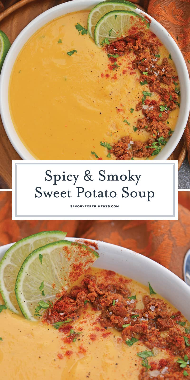 Spicy Sweet Potato Soup is a healthy blend of vegetables with a sweet and spicy kick! This soup definitely falls under the category of easy soup recipes! #sweetpotatosoup #easysouprecipes #sweetpotatorecipes www.savoryexperiments.com