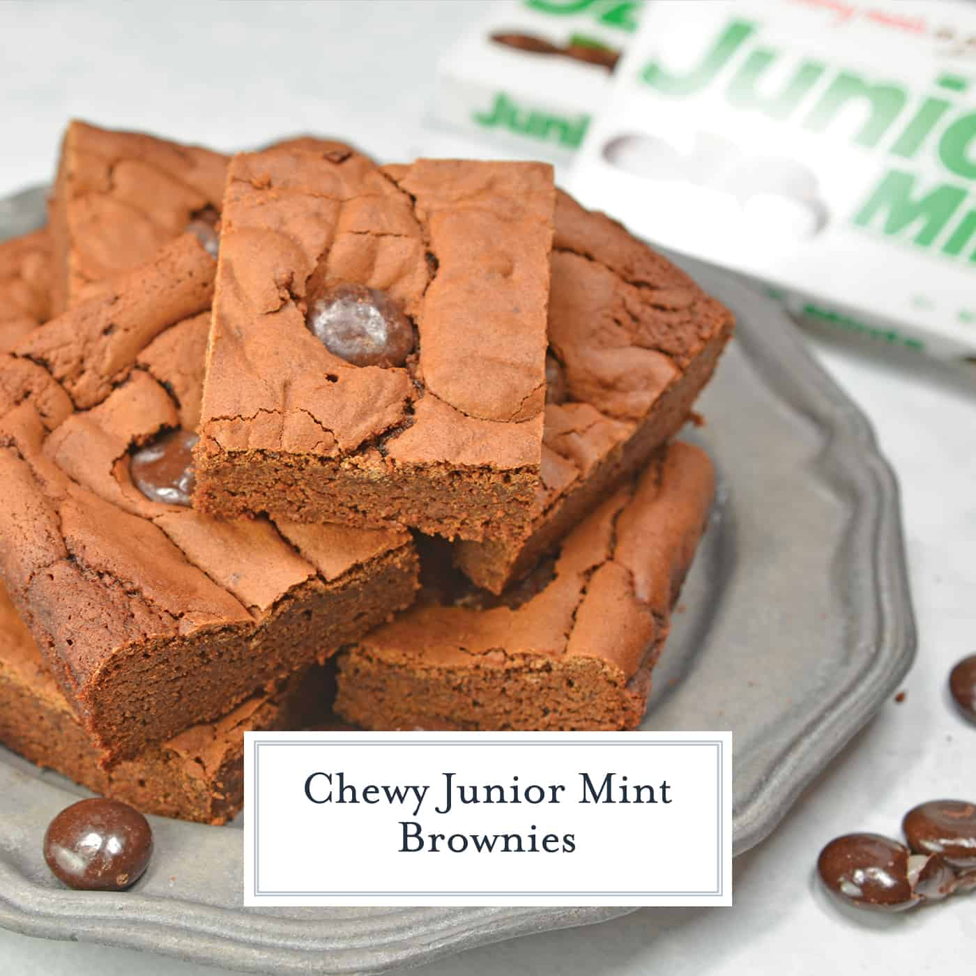 Junior Mint Brownies are homemade brownies blended with cool, creamy Junior Mints. This delicious chewy brownie recipe will satisfy any brownie cravings! #homemadebrownies #juniormints #chewybrownierecipe www.savoryexperiments.com