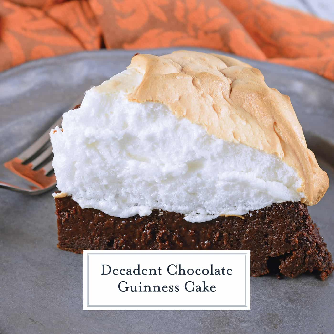 Chocolate Guinness Cake is a super rich and moist cake with fluffy meringue topping. This flourless chocolate cake is perfect for St. Patrick's Day dessert or any other day of the year! #chocolateguinnesscake #flourlesschocolatecake www.savoryexperiments.com