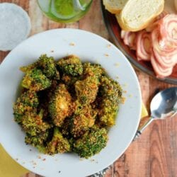 Crunchy baked broccoli in a bowl