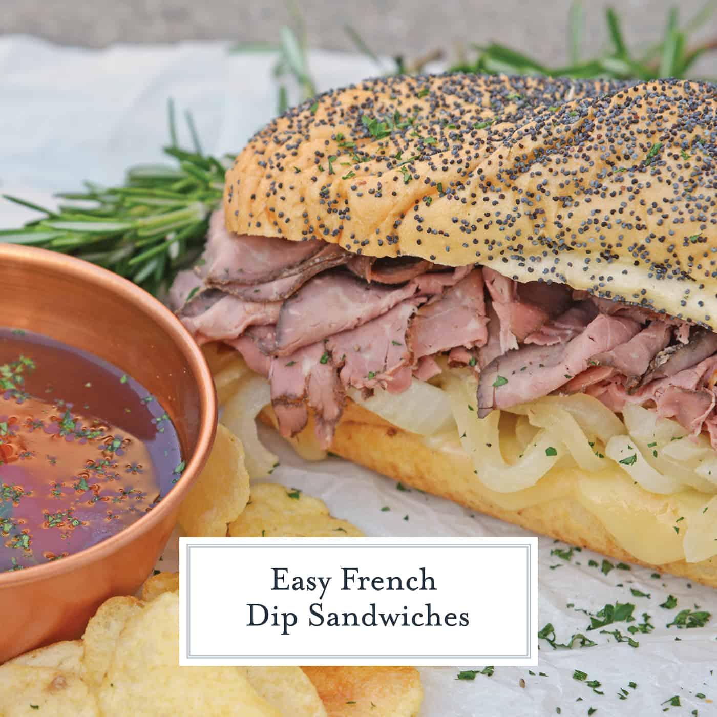 Easy French Dip Sandwiches are made from tender roast beef with caramelized onions, roasted garlic, whipped horseradish cream sauce on brioche rolls! #roastbeefsandwich #frenchdipsandwiches www.savoryexperiments.com
