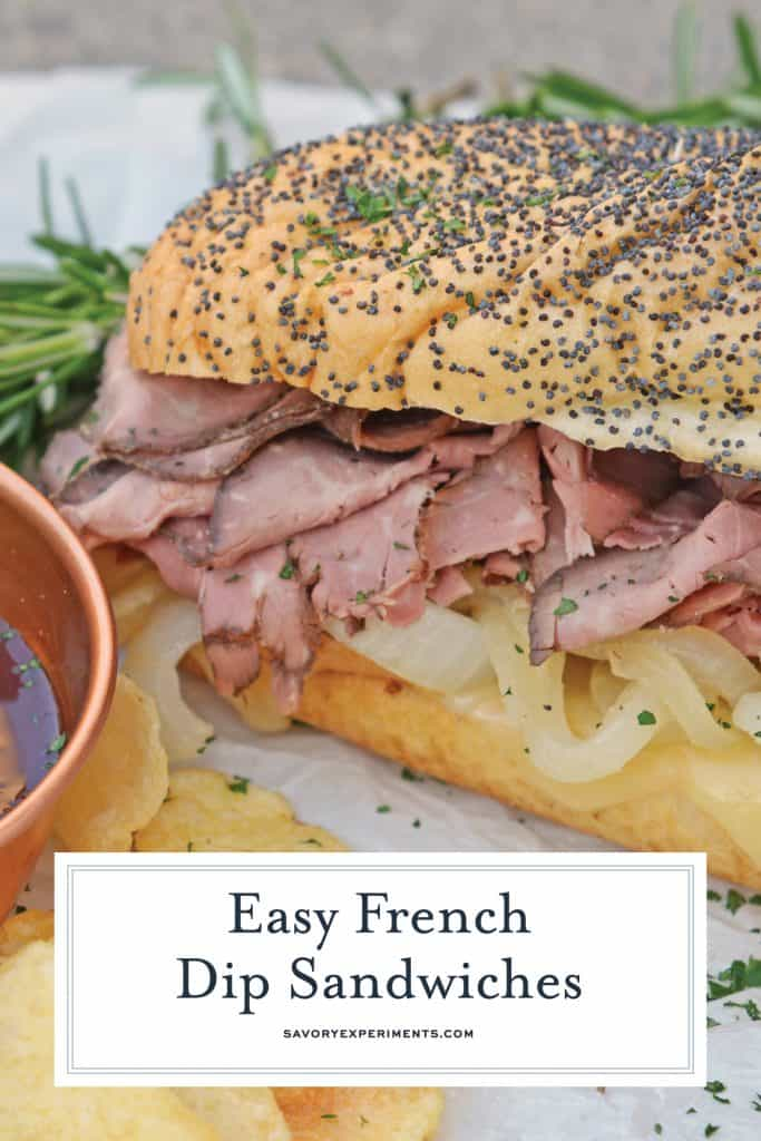 Easy French Dip Sandwiches - A Delicious Roast Beef Sandwich - Easy French Dip Sandwiches are made from tender roast beef with caramelized onions, roasted garlic, whipped horseradish cream sauce on brioche rolls! These roast beef sandwiches are one of our favorite lunch meals, and they will become one of yours as well! #easyfrenchdipsandwich