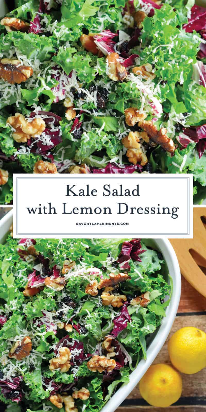 Kale Salad with Lemon Dressing is tossed with currants, radicchio, walnuts and a lemon dressing. Learn how to massage kale salad and make a delicious salad! #kalesaladrecipes #kalesaladdressing www.savoryexperiments.com