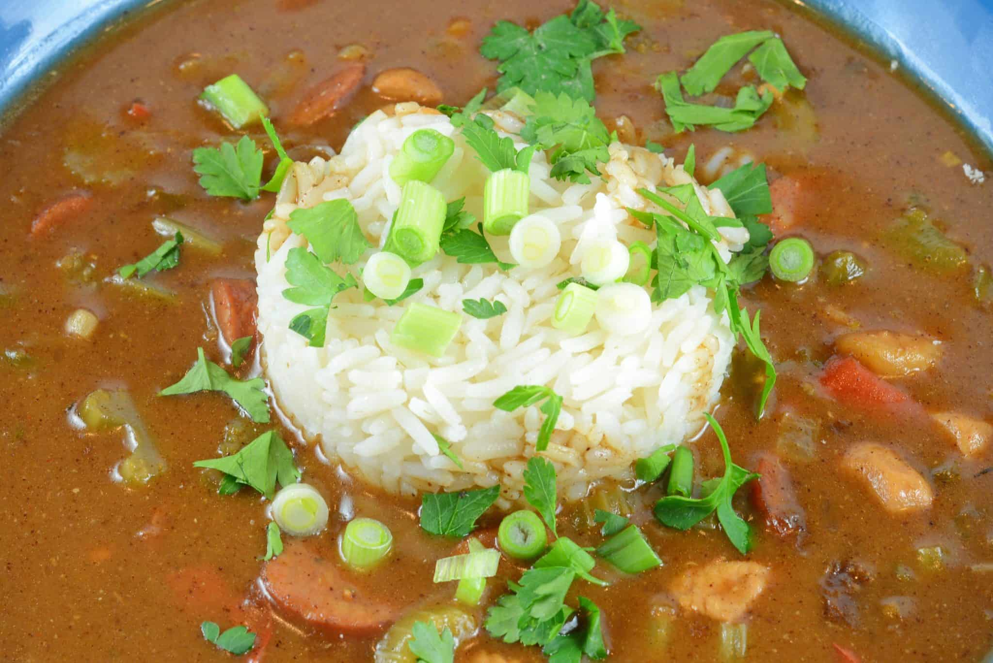 Authentic New Orleans Gumbo is a rich and hearty sauce mixed with vegetables, Andouille sausage, chicken and even seafood. Serve over rice for the perfect Creole meal.