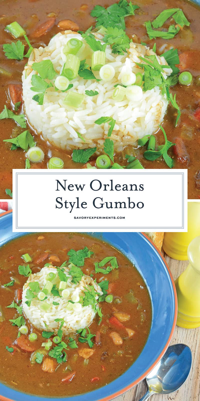 Authentic New Orleans Gumbo is a rich & hearty sauce mixed with vegetables, Andouille sausage, chicken & even seafood! Serve on rice for a perfect Creole meal! #gumborecipe #seafoodgumbo www.savoryexperiments.com