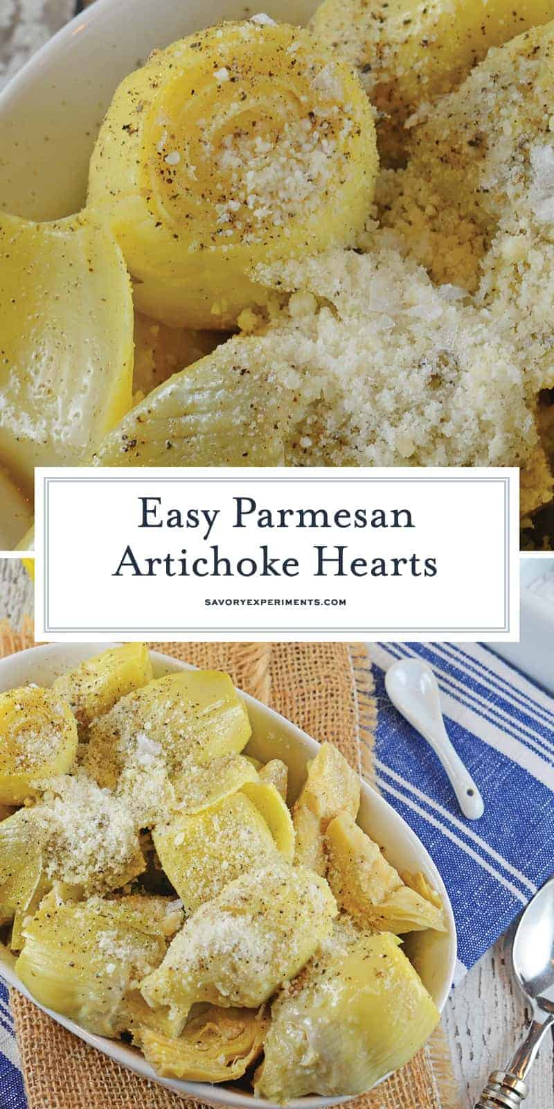 Parmesan Artichoke Hearts will only set you back 10 minutes! After that, you will have an amazing artichoke side dish! #artichokerecipe #artichokehearts www.savoryexperiments.com