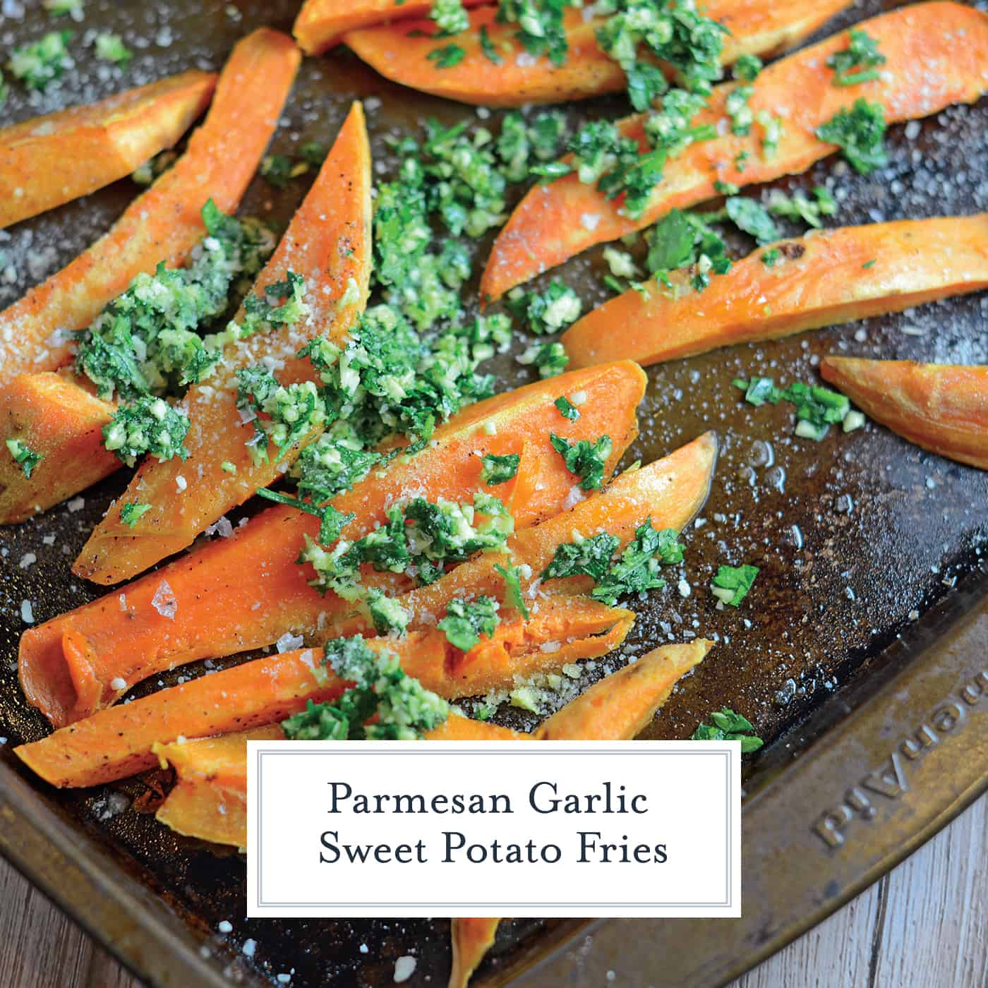 Garlic Parmesan Baked Sweet Potato Fries will jazz up your dinner with lightly tossed herbs, cheese and tender sweet potatoes! This sweet potato fries recipe has the perfect amount of savory flavor to satisfy everyone!