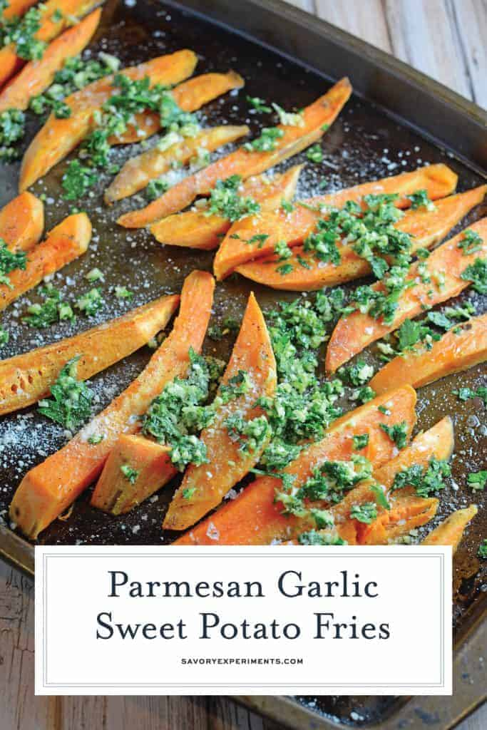 garlic parmesan baked sweet potato fries on a baking sheet