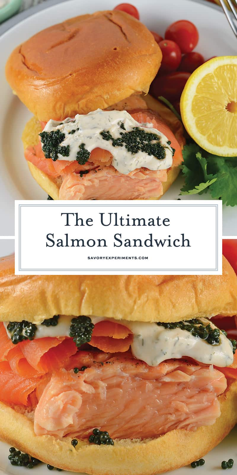 The Ultimate Salmon Sandwich is THE BEST salmon sandwich because it uses 2 types of salmon with dilled sour cream & caviar on a delicious buttery brioche roll! #salmonrecipes #salmonsandwichrecipe www.savoryexperiments.com