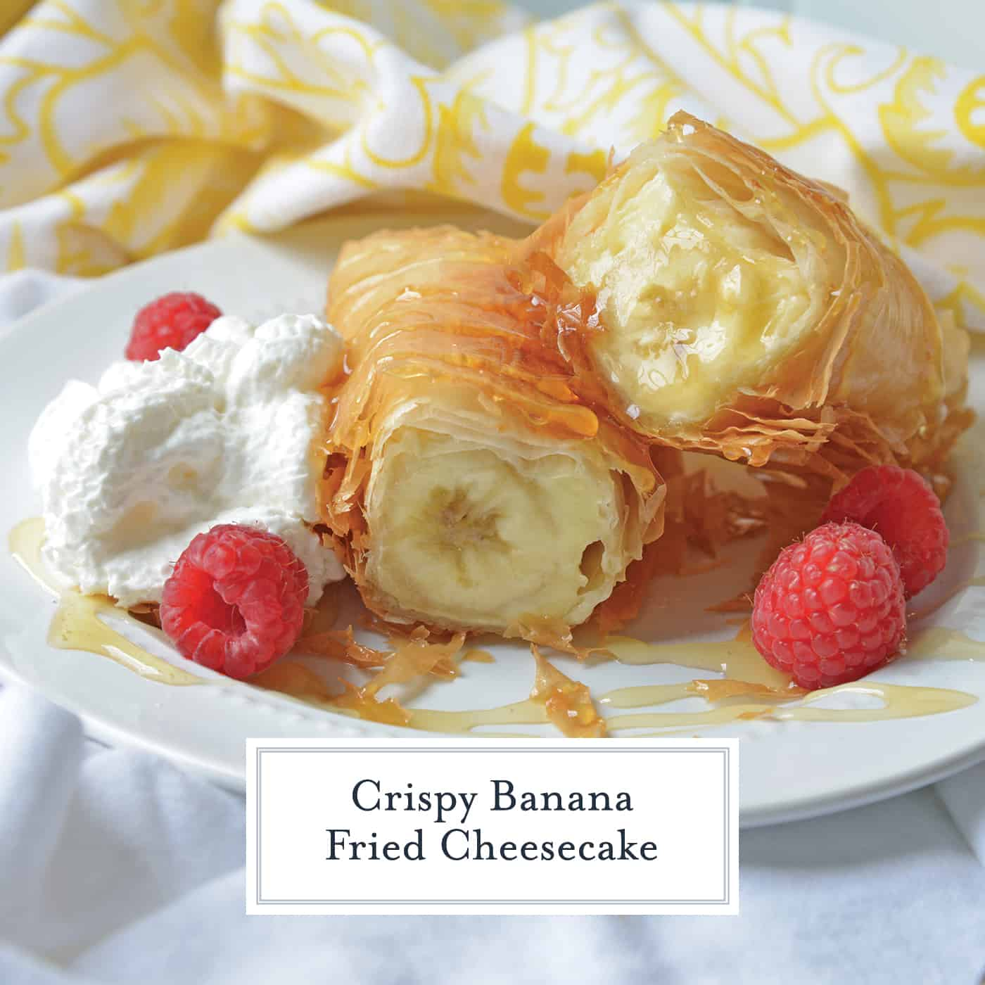 his Banana Fried Cheesecake recipe will become one of your all time favorite desserts! They are fried golden brown to perfection and drizzled with honey. #friedcheesecake #bananaspringrolls www.savoryexperiments.com