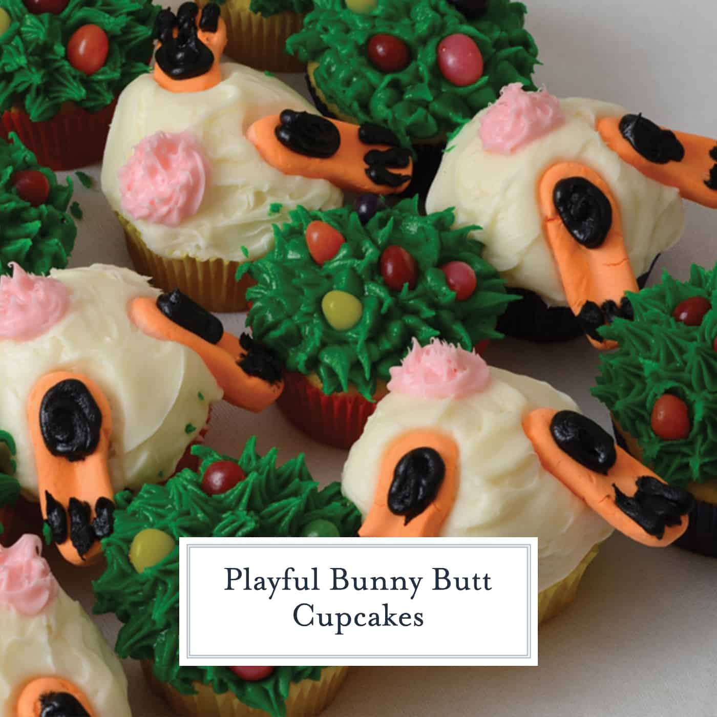 Bunny Butt Cupcakes are the cutest Easter cupcakes you ever did see. They are SO easy that anyone can decorate them with just a few pre-made ingredients. #bunnybuttcupcakes #eastercupcakes #springcupcakes www.savoryexperiments.com
