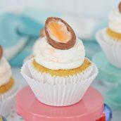 overhead of cadbury egg cupcakes