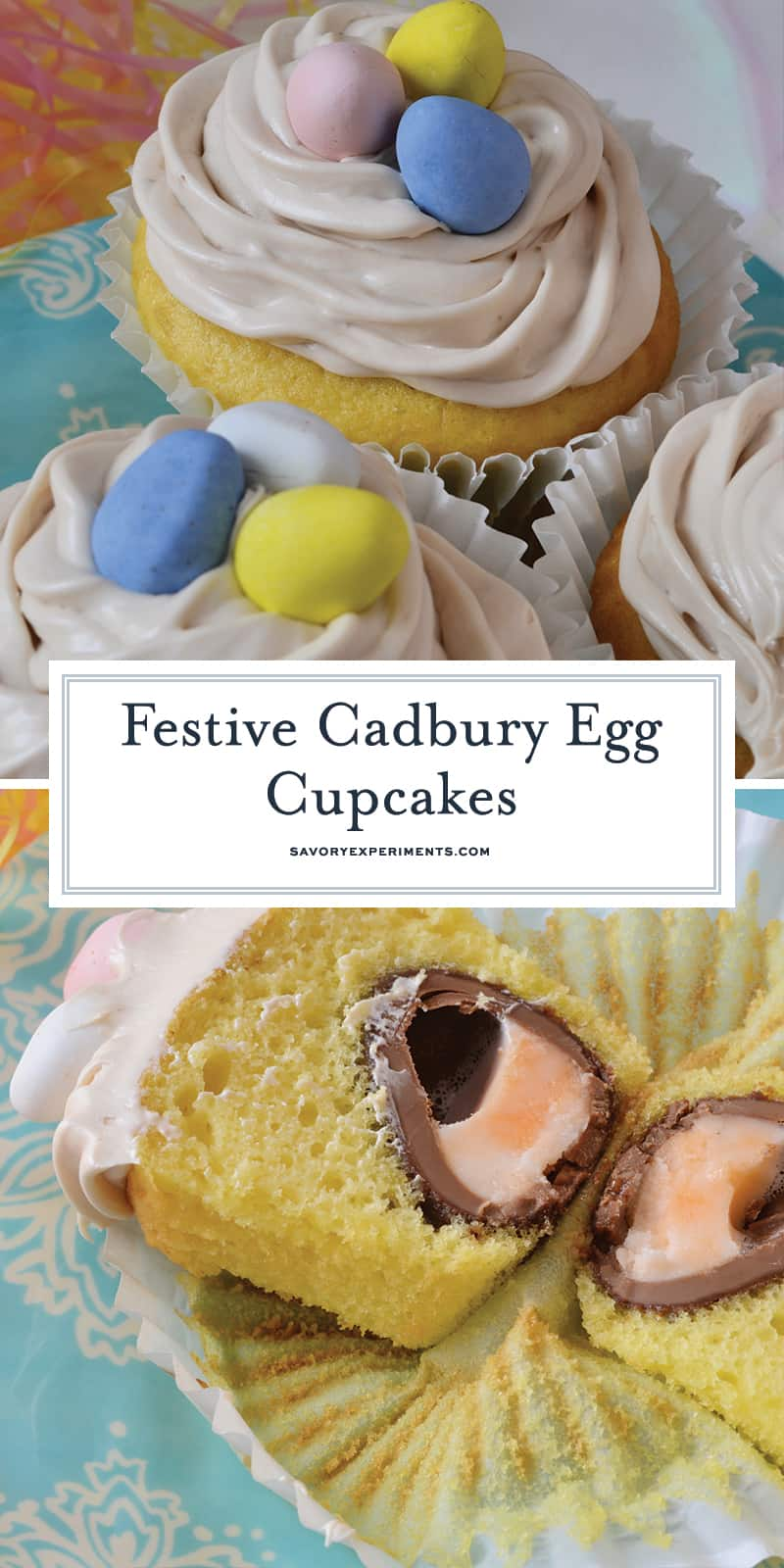 Cadbury Egg Cupcakes Recipe- where are my Cadbury Egg lovers at? Check out my jumbo cupcakes with a Cadbury Egg inside and crème whipped right into the frosting. The perfect Easter dessert! www.savoryexperiments.com